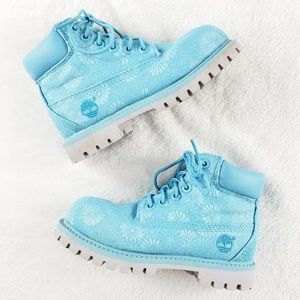 "Timberland blue flower 6"" classic boot Toddler 10"